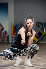 portrait of a girl engaged in street dance hip hop