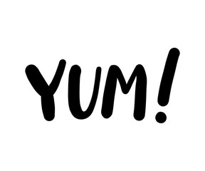 Yum text word. Printable graphic tee. Design doodle for print. Vector illustration. Black and white. Cartoon style.
