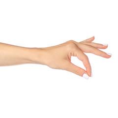 Hand posing as holding something isolated on white background