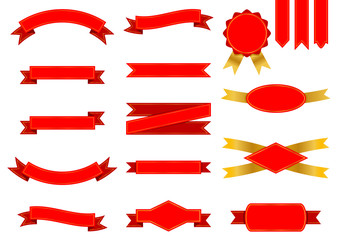 Vector set of red ribbons and labels decorated with golden elements