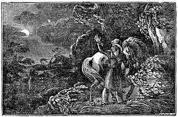 """Cowper Rose, author of """"Four years in Southern Africa"""", surrounded by wolves (from Das Heller-Magazin, March 22, 1834)"""