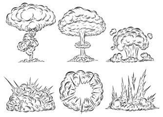 Bomb explosion mushroom cloud by hand drawing.Bomb cloud vector on white background.