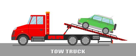 Vector illustration. Red tow truck with green car.