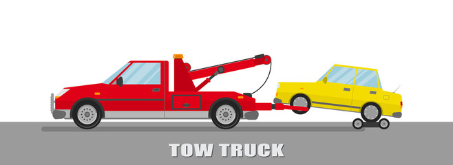 Tow truck with car. Flat design.