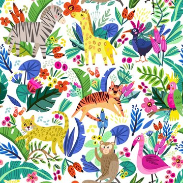 Cute tropical seamless pattern with adorable animals and flowers.