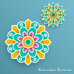 Ramadan Kareem with paper graphic of islamic
