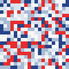 Random colored abstract geometric mosaic pattern background. Red blue white patriotic background. Seamless vector pattern.
