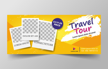 Travel Corporate business banner template, horizontal advertising business banner layout template flat design set , clean abstract cover header