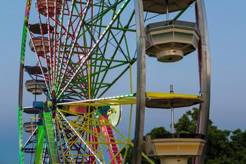 Ferris Wheel Lights at Dusk Closeup