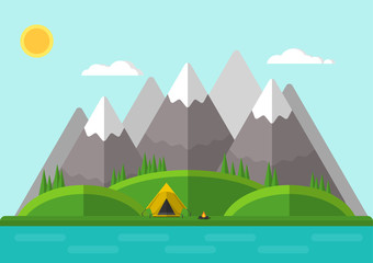 Vector illustration. Summer mountain landscape with a tent and a fire. Flat design.
