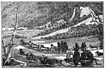 Sled-dog teams at snowstorm (from Das Heller-Magazin, March 13, 1834)