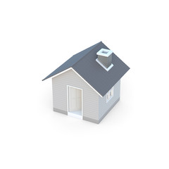 Minimal simple house isolated on a white background with clipping path. House 3d rendering.