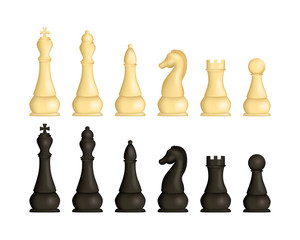 Realistic Detailed 3d Wooden Chess Pieces Set. Vector