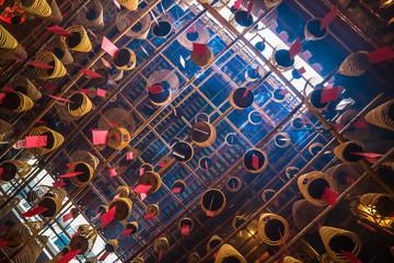 Interior of Man Mo Temple in Hong Kong