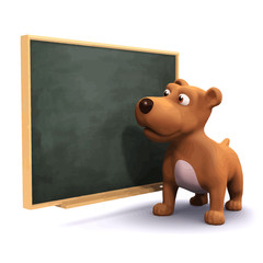 Vector 3d Puppy dog at the blackboard