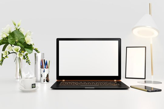 3d rendering of workspace with black laptop