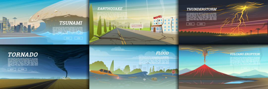 Set of natural disaster or cataclysms. Catastrophe and crisis Background. Realistic Tornado or storm, Lightning Strike, Rain Thunderstorm, Volcano eruption, Flood and Earthquake, Tsunami and Big wave.