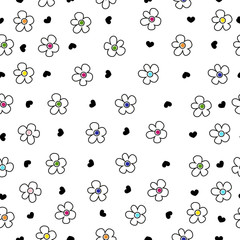 Colorful daisy flower field pattern with black heart
