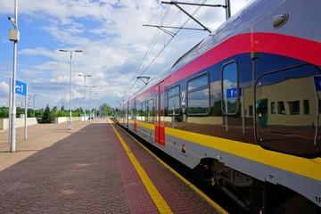 Railway Station - Station .Train carrying passengers. International and regional train