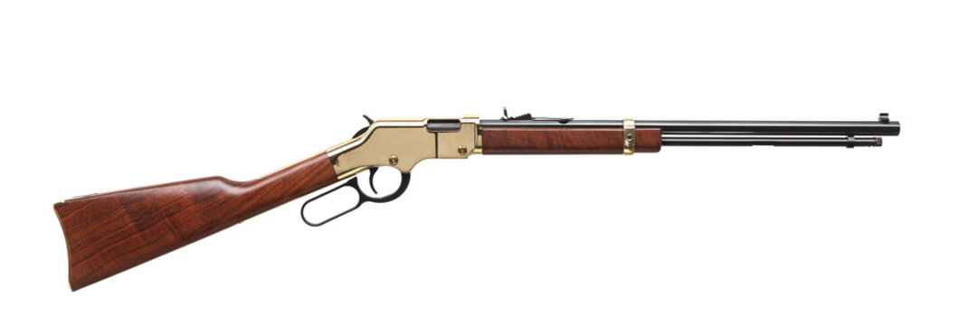 Old American wild west rifle isolated on white