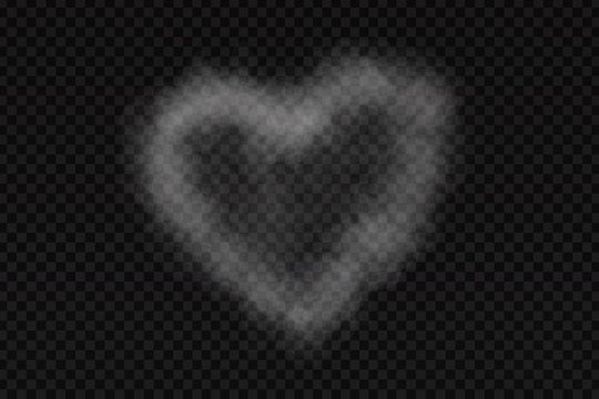 Vector realistic isolated smoke heart for decoration and covering on the transparent background.