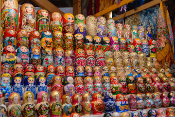 a lot of Russian dolls matryoshka
