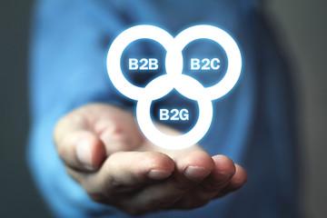 Businessman holding B2B, B2C, B2G business models. Business concept