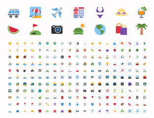 All Travel, summer vacation, journey holidays icons, activities emojis, emoticons set. Vector illustration flat style tourism symbols collection.
