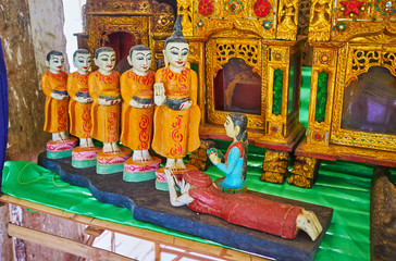 Carved sculptures in Indein market stall, Inle Lake, Myanmar