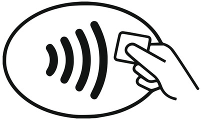 Contact less credit card logo. NFC wireless payments.