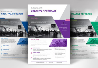 Flyer Layout with Bright Geometric Elements