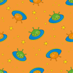 Seamless Pattern PLANET is Color Vector Illustration Magic Cartoon Picture for Scrapbooking Babybook Print Card and Album Photo