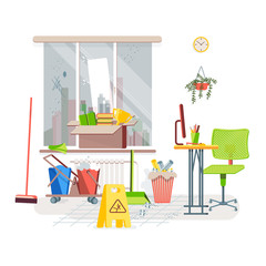 Cleaning room. Dirty window. Garbage on the floor. The trash can is filled with paper. Items for cleaning. Flat style vector illustration.