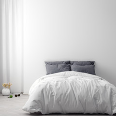 Mock up poster in bedroom interior background, 3D illustration