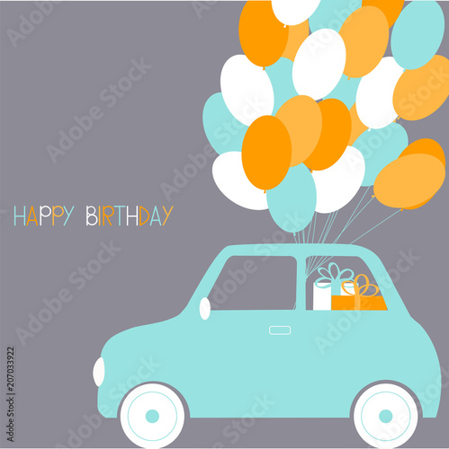 Happy Birthday Card Cute Small Car With Balloons Vector Illustration