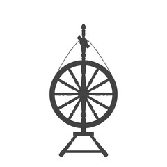 An antique spinning wheel icon in the style of a flat design.