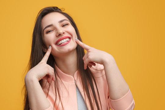 Charming girl making smile