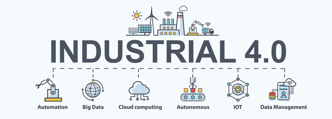 Industry 4.0 banner, productions icon set: smart industrial revolution, automation, robot assistants, iot, cloud and bigdata.