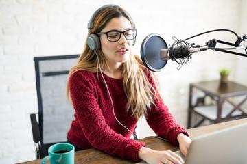 Female live on online radio