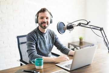 Freelance podcaster at home studio