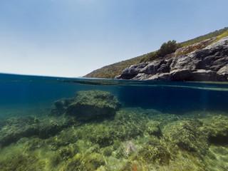 Half underwater in the sea.