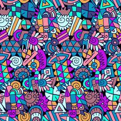 Tribal pattern. Ethnic print. Aztec. Abstract geometric fabric. Cloth design. Doodles pattern. Zentangle. Boho homespun. Hand drawn seamless illustration.