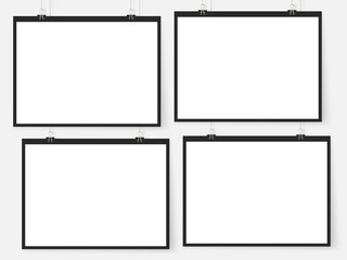 Posters on binder clips. White notepad paper templates. Business. Canvas. Interior. Realistic vector illustration. Empty mockup frames for your drawings, quotes or lettering.