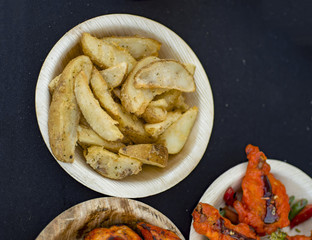 Potato wedges in plate for sale