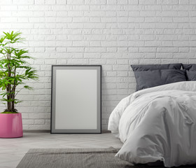 Mock up poster frame in bedroom interior background with brick wall, 3D illustration