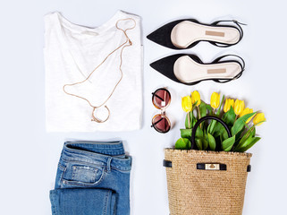 Women's spring summer basic outfit. Apparels flat composition