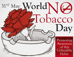 Hand Drawn Rose over Ashtray for World No Tobacco Day, Vector Illustration