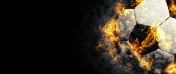 Soccer ball background. Abstract dark soccer ball background with copy space. Fire illustration.