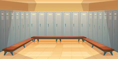 Vector cartoon background with rows of individual lockers, empty dressing room with closed metal closets. Storage space for changing clothes, keeping sport equipment, school cabinets, front view
