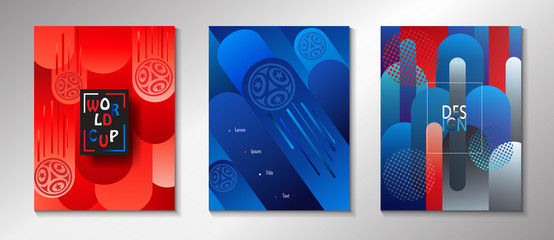Soccer world international competition abstract brochure covers, banners set, dynamic concept modern design, sports, football symbols, soccer ball, russian folk art elements, pattern vector